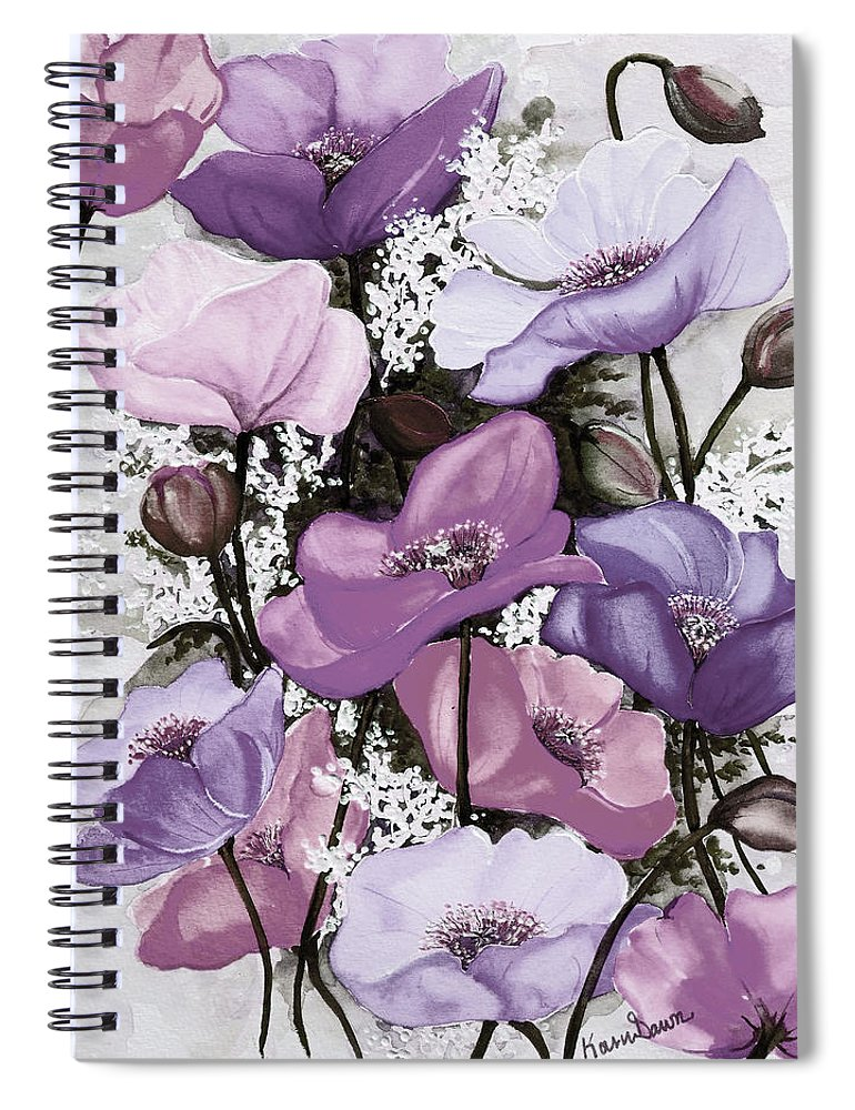 Purple Spiral Notebook featuring the painting Mixed Poppies Purple by Karin Dawn Kelshall- Best