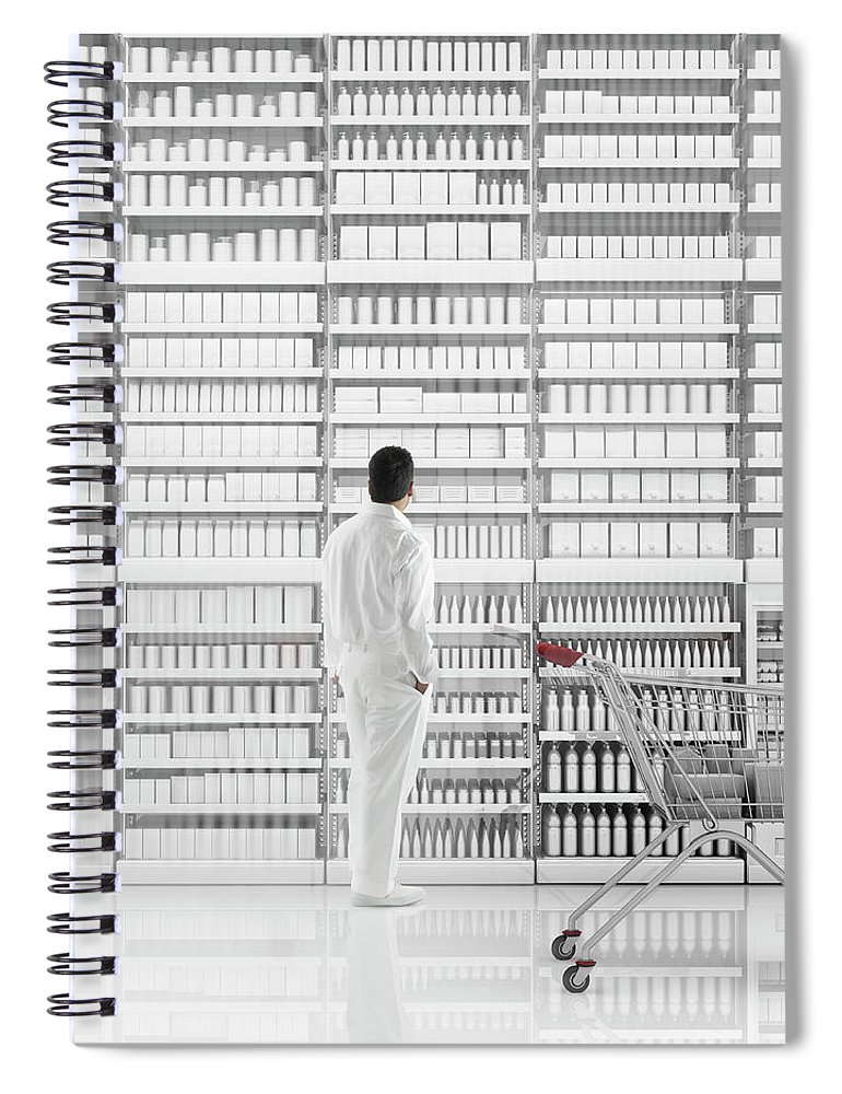 Internet Spiral Notebook featuring the photograph Mixed Race Man Shopping On White by Colin Anderson Productions Pty Ltd