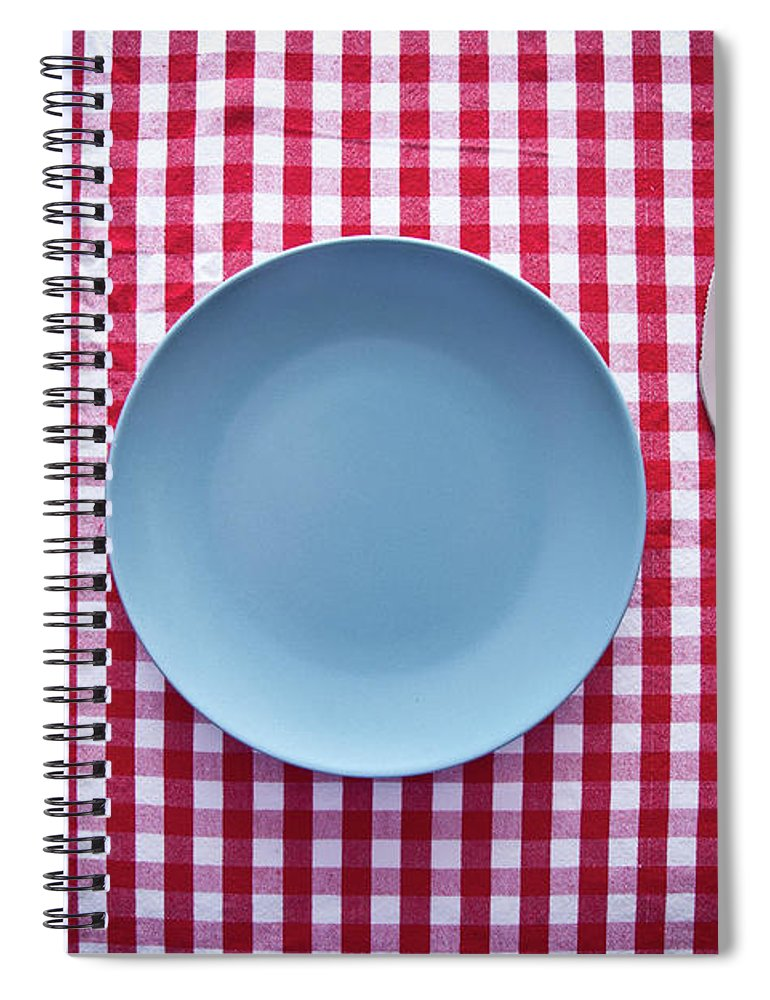 Empty Spiral Notebook featuring the photograph Modern Blue Plate On Red Checkered by Kkong5