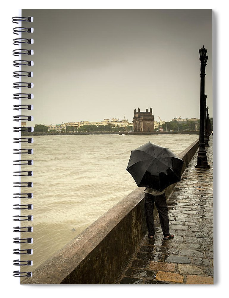 People Spiral Notebook featuring the photograph Monsoon In Mumbai by Frank Bunnik
