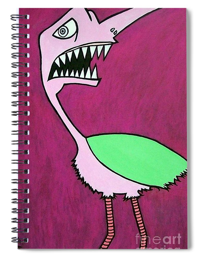 Birds Spiral Notebook featuring the painting Monster Bird by Thomas Valentine