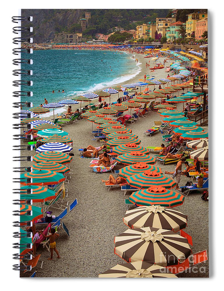 Cinque Spiral Notebook featuring the photograph Monterosso Beach by Inge Johnsson