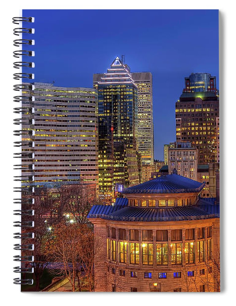Tranquility Spiral Notebook featuring the photograph Montreal Downtown At Dusk Hdr II by Jean Surprenant