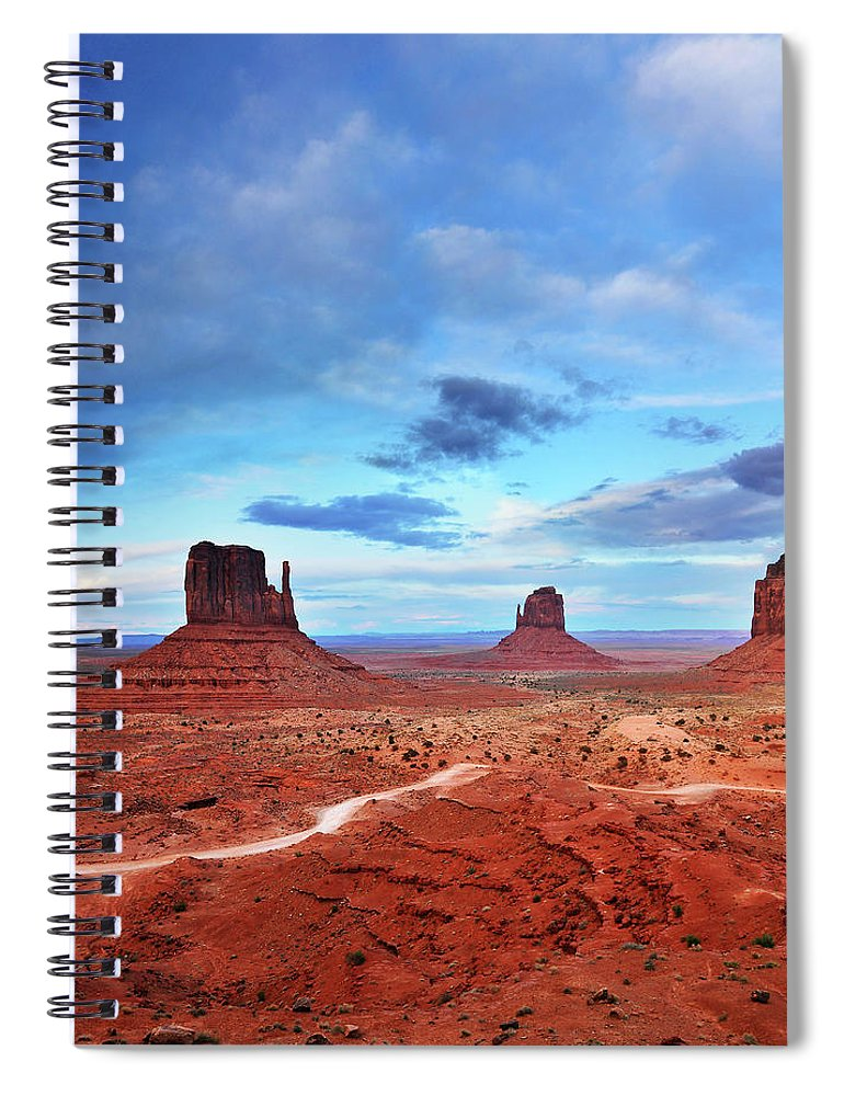Tranquility Spiral Notebook featuring the photograph Monument Valley Cool Light After Sunset by Utah-based Photographer Ryan Houston