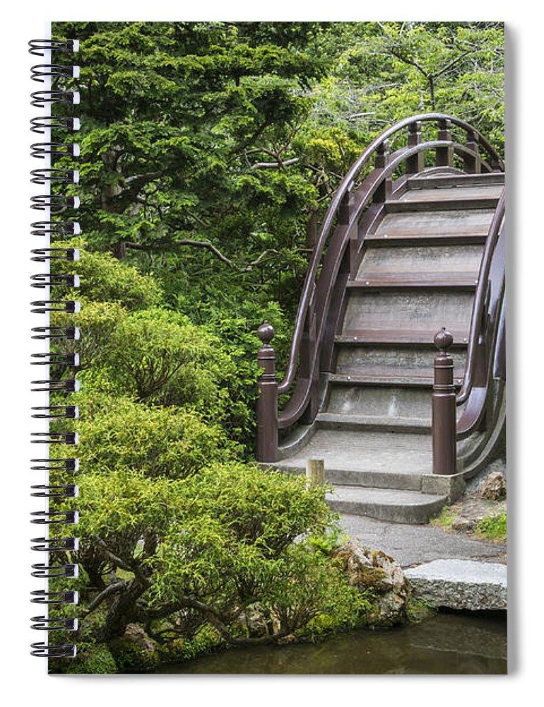 3scape Spiral Notebook featuring the photograph Moon Bridge - Japanese Tea Garden by Adam Romanowicz