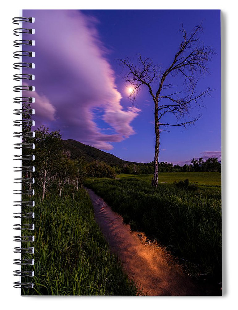 Wyoming Spiral Notebook featuring the photograph Moonlight Meadow by Chad Dutson
