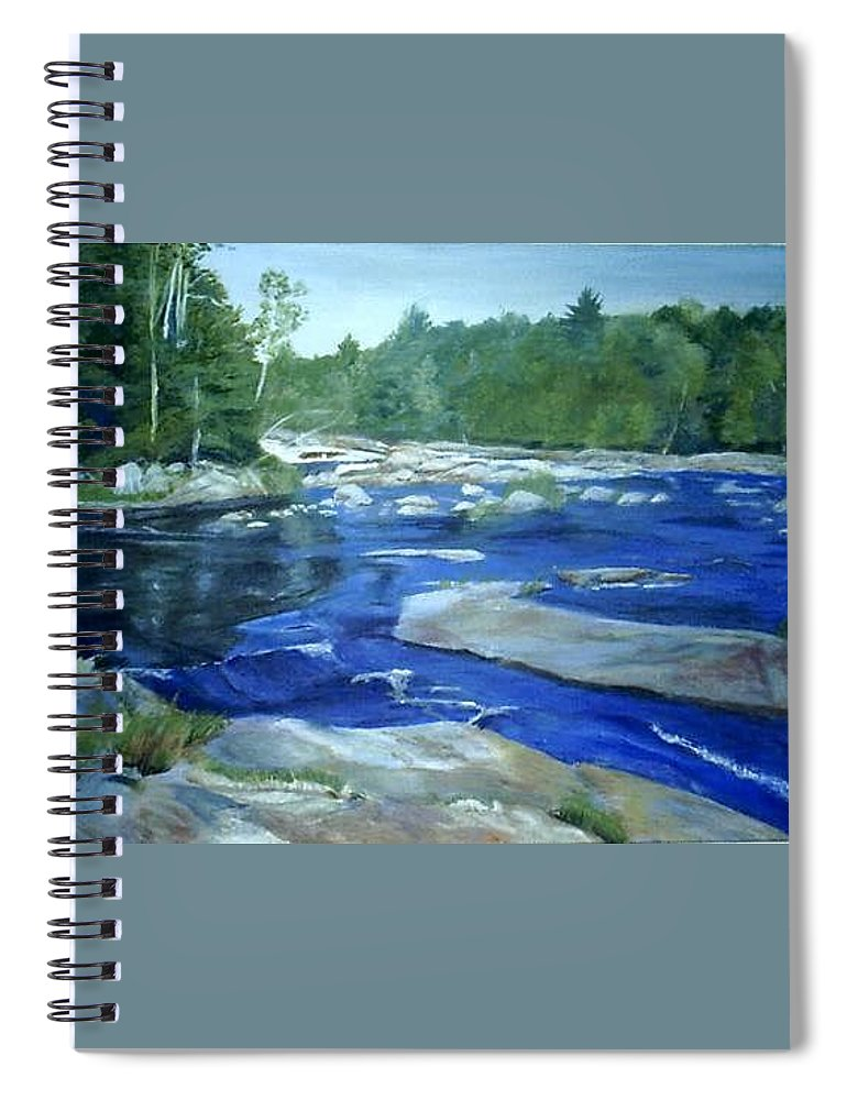 Moose River Spiral Notebook featuring the painting Moose River Lyons Falls by Sheila Mashaw