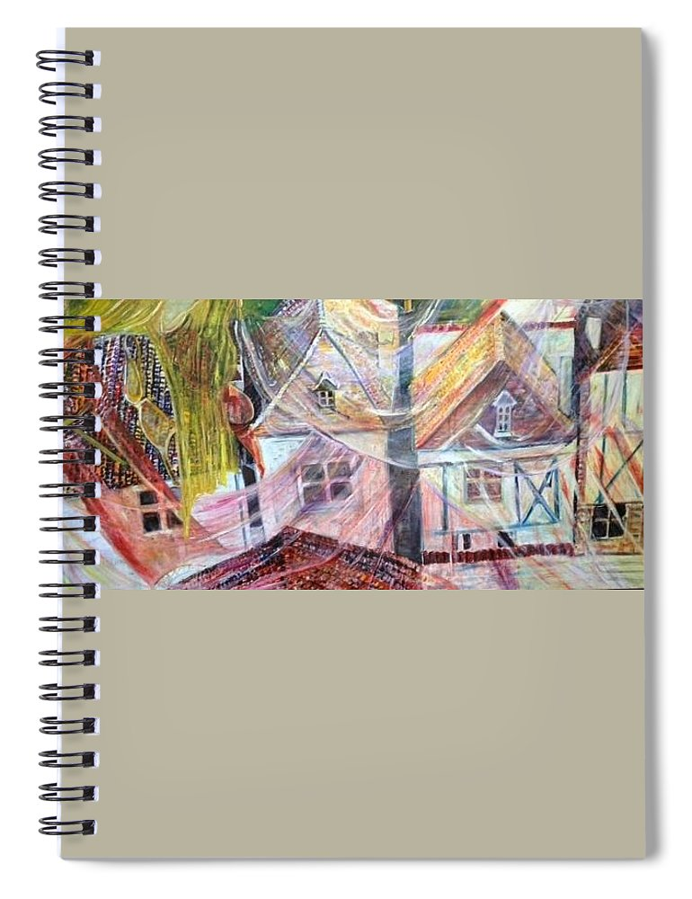 Village Spiral Notebook featuring the painting Morning Sunrise by Peggy Blood