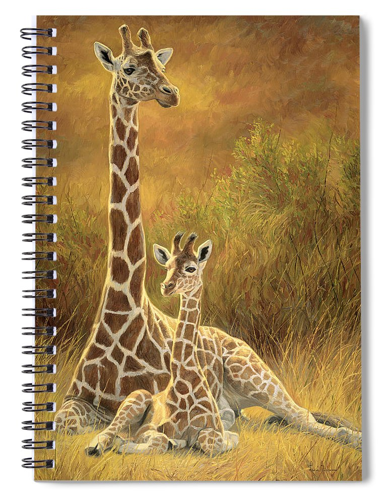 Giraffe Spiral Notebook featuring the painting Mother and Son by Lucie Bilodeau