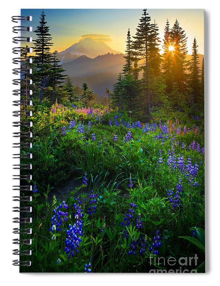 America Spiral Notebook featuring the photograph Mount Rainier Sunburst by Inge Johnsson