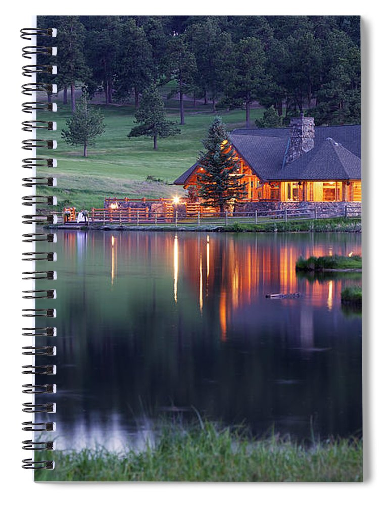 Water's Edge Spiral Notebook featuring the photograph Mountain Lodge Reflecting In Lake At by Beklaus