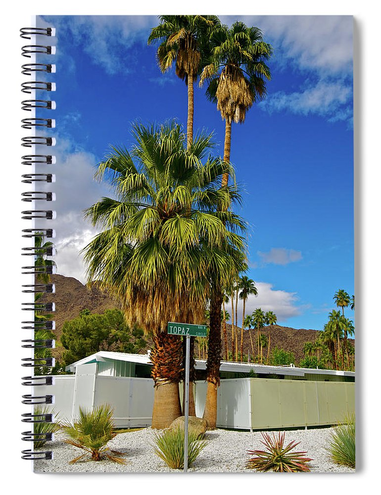 Fan Palm Tree Spiral Notebook featuring the photograph Mountains, Plants & Mid-century Home In by Jaylazarin