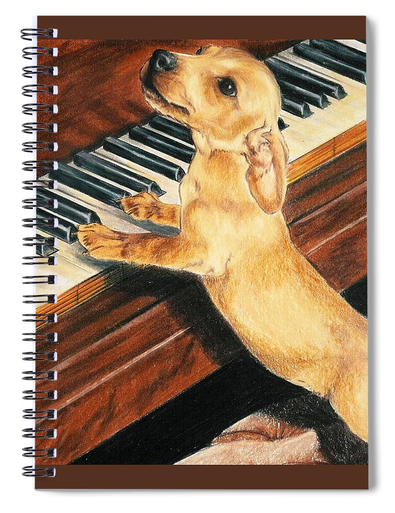 Purebred Dog Spiral Notebook featuring the drawing Mozart's Apprentice by Barbara Keith