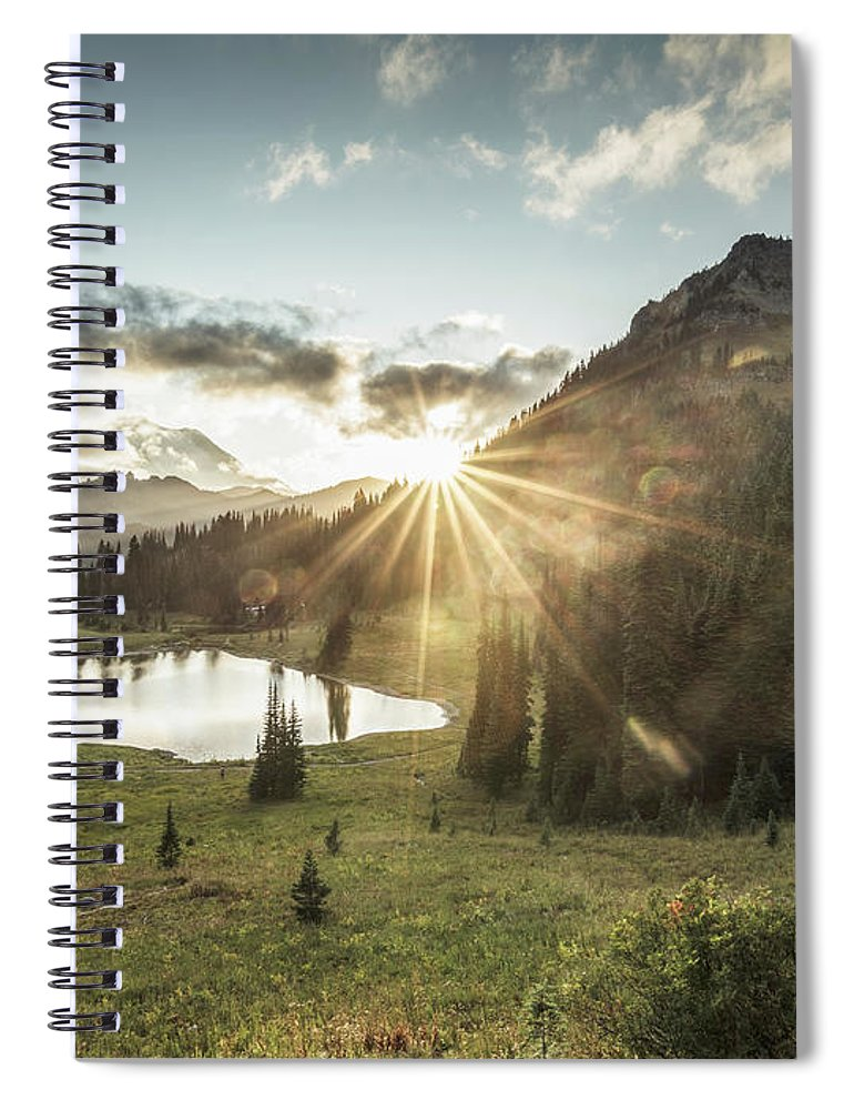 Scenics Spiral Notebook featuring the photograph Mt.rainier In Sunset by Chinaface