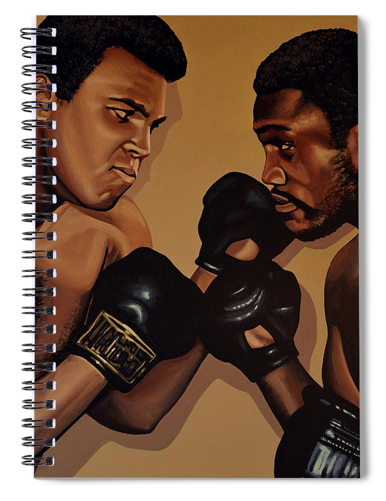 Mohammed Ali Versus Joe Frazier Spiral Notebook featuring the painting Muhammad Ali And Joe Frazier by Paul Meijering