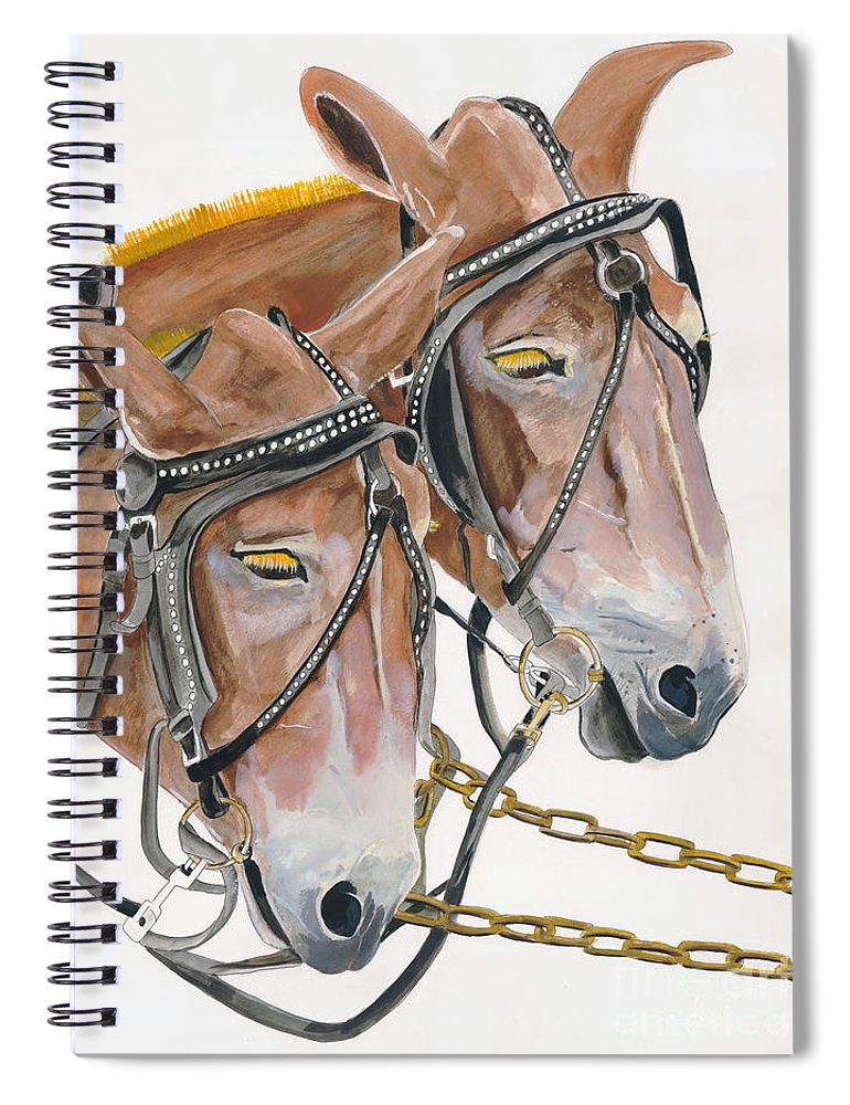 Mules Spiral Notebook featuring the painting Mules - Two - Beast Of Burden by Jan Dappen