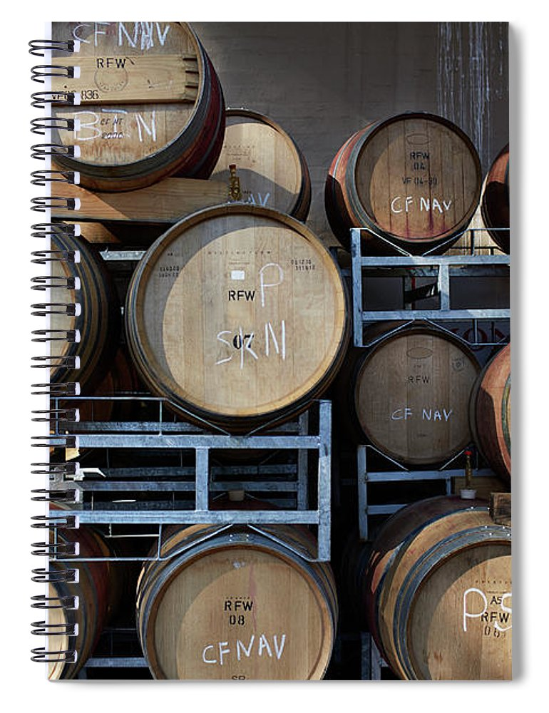Stellenbosch Spiral Notebook featuring the photograph Multible Wooden French Winebarrels On by Klaus Vedfelt