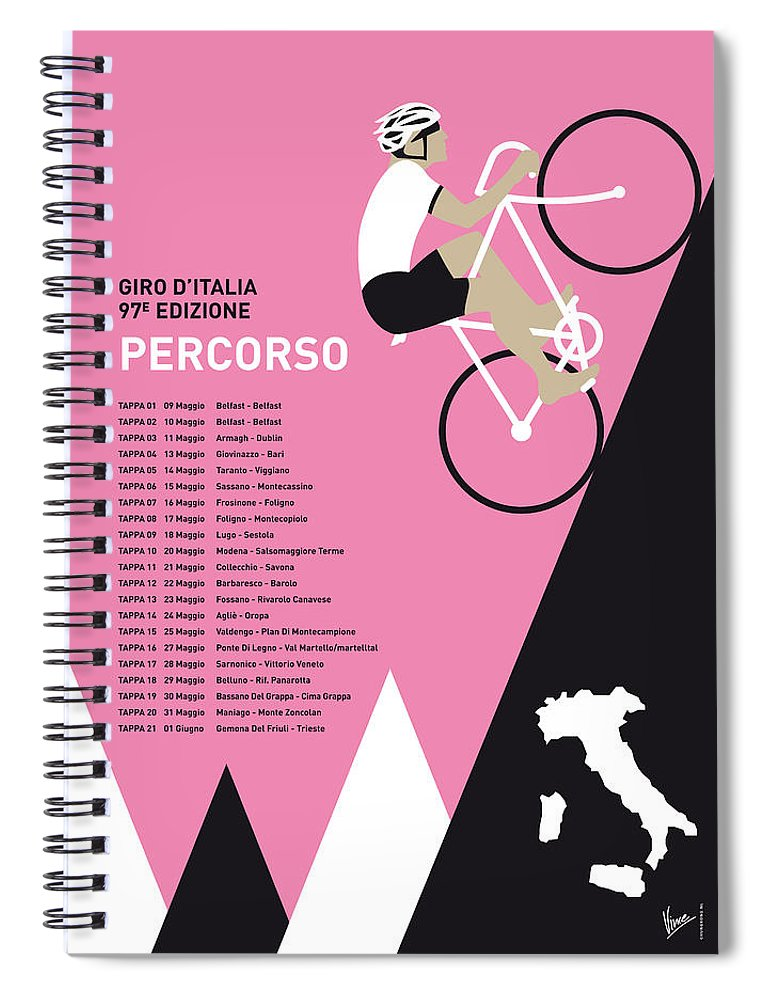2014 Spiral Notebook featuring the digital art My Giro D Italia Minimal Poster 2014-percoso by Chungkong Art