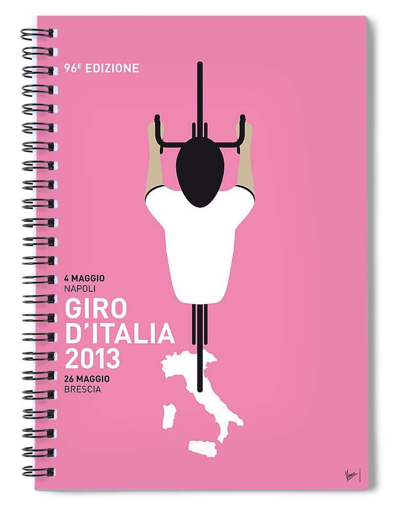 2013 Spiral Notebook featuring the digital art My Giro D'italia Minimal Poster by Chungkong Art