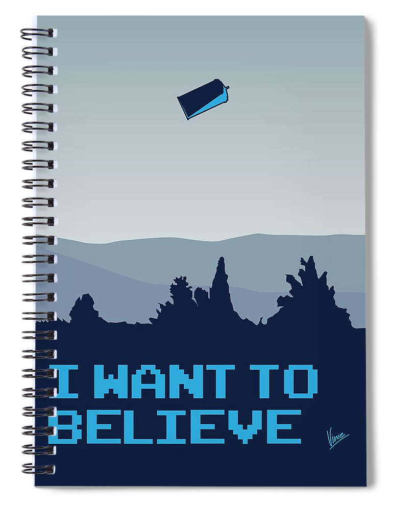 Classic Spiral Notebook featuring the digital art My I Want To Believe Minimal Poster- Tardis by Chungkong Art