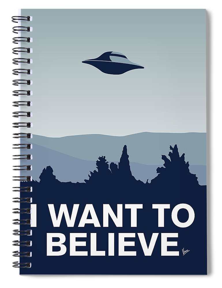 Classic Spiral Notebook featuring the digital art My I want to believe minimal poster-xfiles by Chungkong Art
