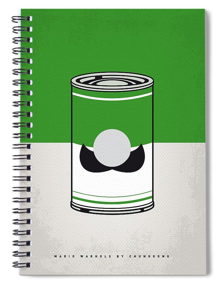 Warhol Spiral Notebook featuring the digital art My Mario Warhols Minimal Can Poster-luigi by Chungkong Art