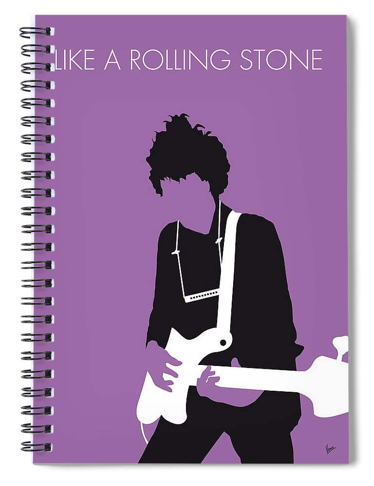 Bob Spiral Notebook featuring the digital art No001 MY BOB DYLAN Minimal Music poster by Chungkong Art