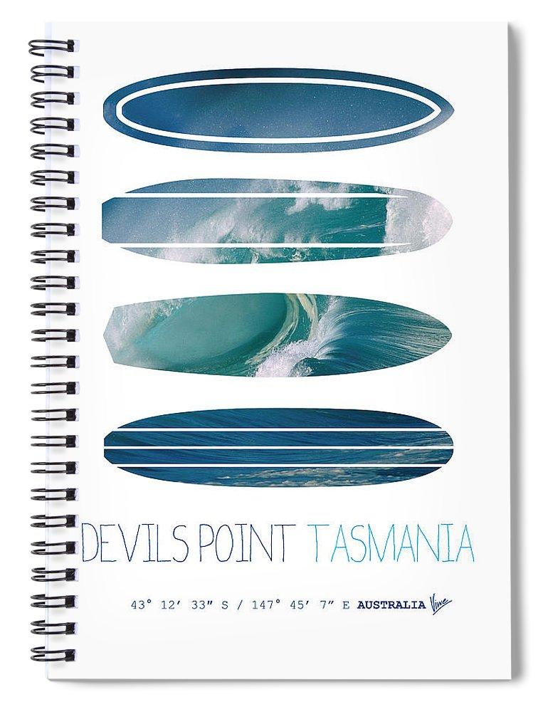 Minimal Spiral Notebook featuring the digital art My Surfspots Poster-5-devils-point-tasmania by Chungkong Art