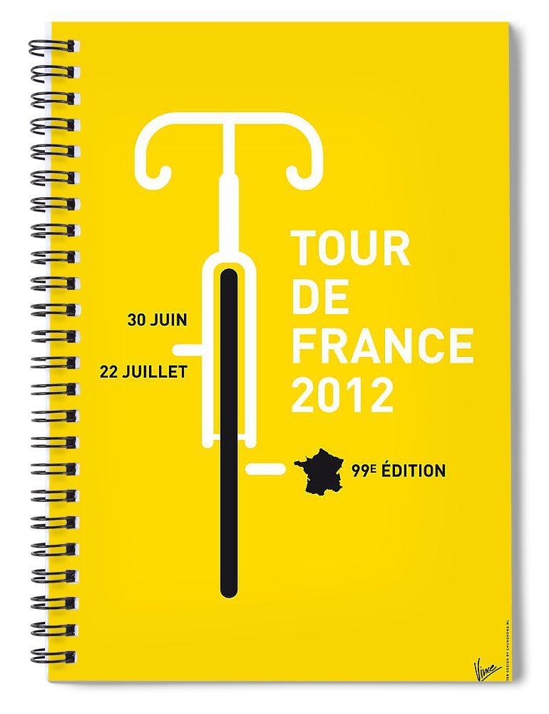 2012 Spiral Notebook featuring the digital art My Tour De France 2012 Minimal Poster by Chungkong Art