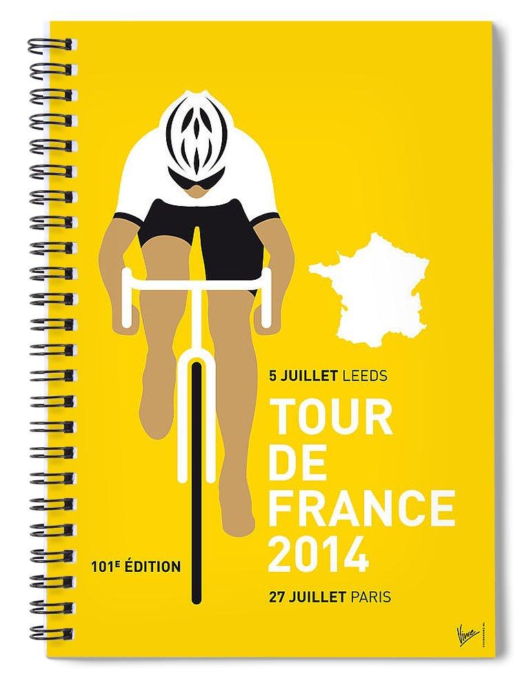 Minimal Spiral Notebook featuring the digital art My Tour De France Minimal Poster 2014 by Chungkong Art