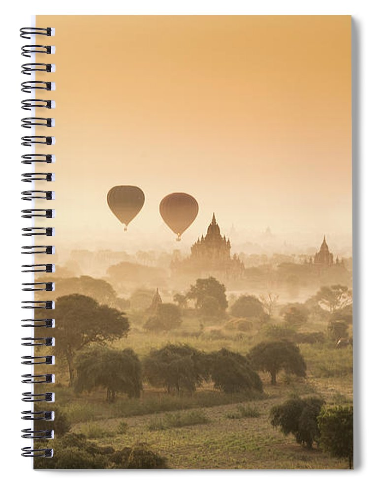 Tranquility Spiral Notebook featuring the photograph Myanmar Burma - Balloons Flying Over by 117 Imagery