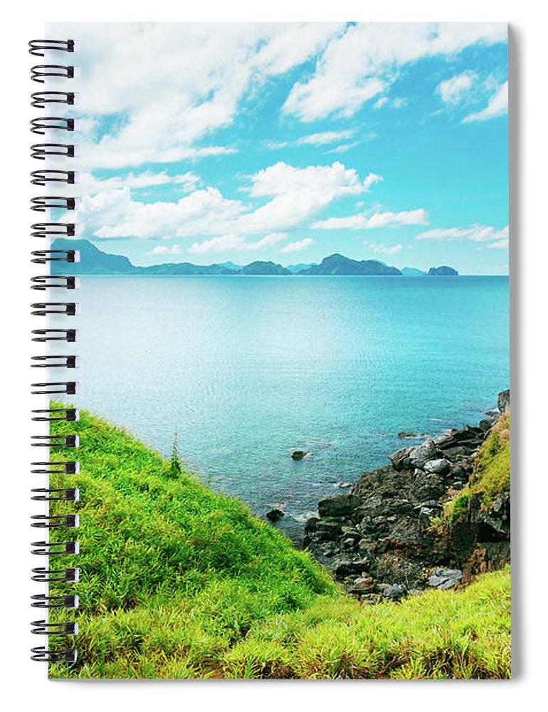 Scenics Spiral Notebook featuring the photograph Nacpan Beach Hills by Danilovi