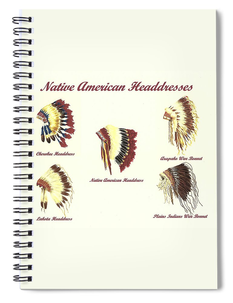 38c53a5f0 Native American Spiral Notebook featuring the painting Native American  Headdresses Number 4 by Michael Vigliotti