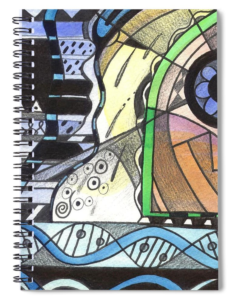 Abstract Spiral Notebook featuring the painting Nature And Nurture by Helena Tiainen