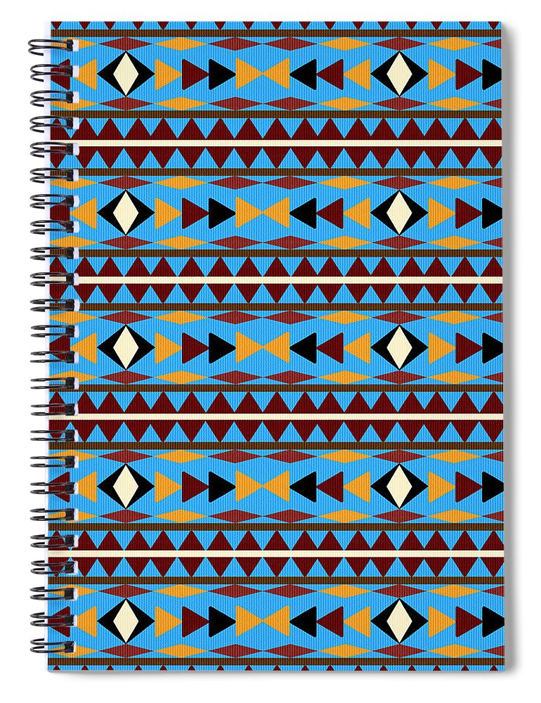 Navajo Spiral Notebook featuring the mixed media Navajo Blue Pattern by Christina Rollo