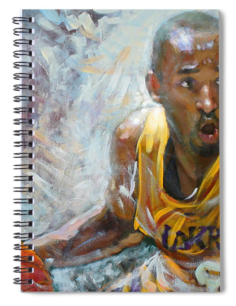 Lakers Spiral Notebook featuring the painting Nba Lakers Kobe Black Mamba by Ylli Haruni