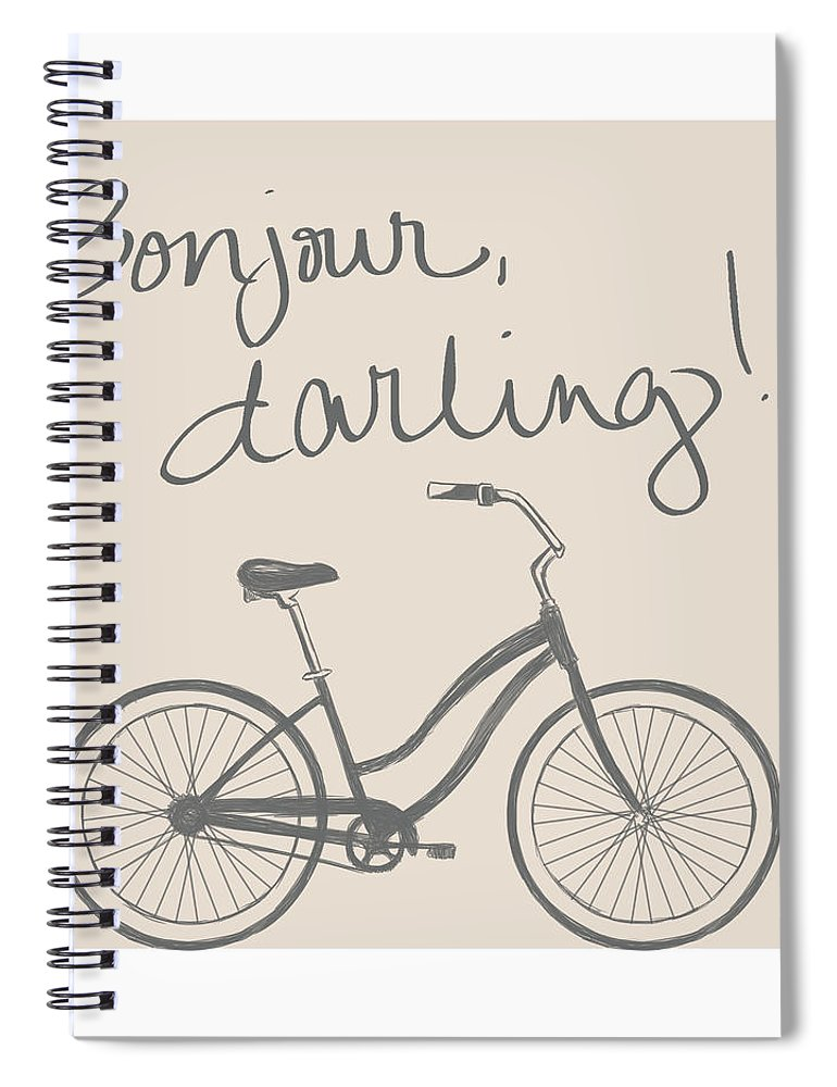 Neutral Spiral Notebook featuring the mixed media Neutral Glam Bike by South Social Studio