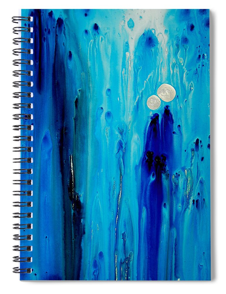 Blue Spiral Notebook featuring the painting Never Alone By Sharon Cummings by Sharon Cummings