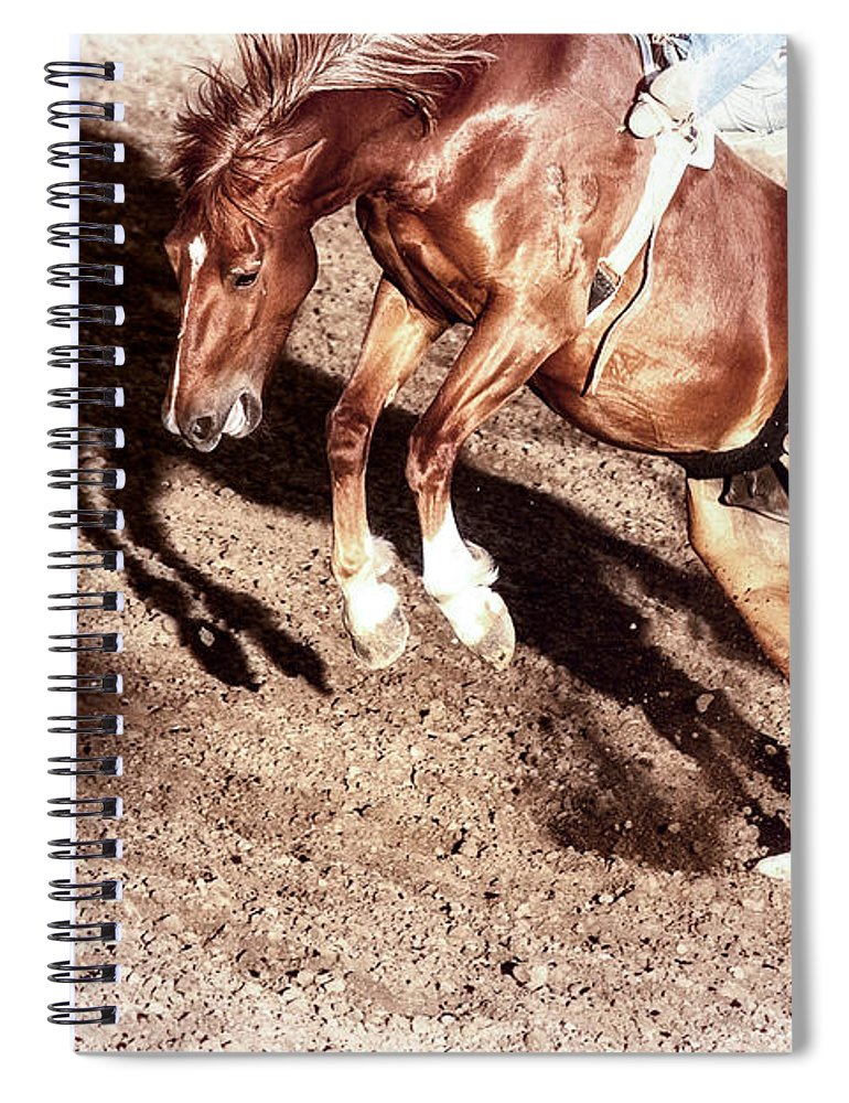 Rodeo Spiral Notebook featuring the photograph Never Give In by Caitlyn Grasso