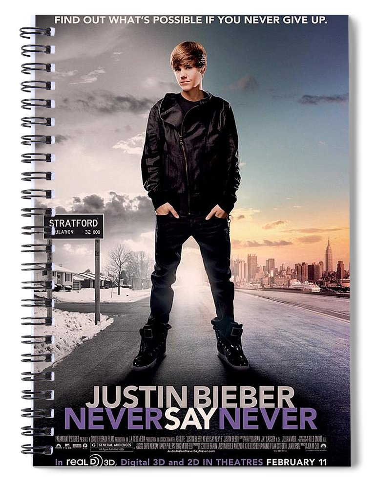 Justin Bieber Spiral Notebook featuring the photograph Never Say Never 1 by Movie Poster Prints