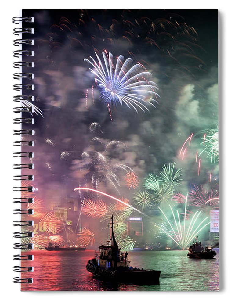 Firework Display Spiral Notebook featuring the photograph New Year Fireworks Hong Kong Asia by Steffen Schnur