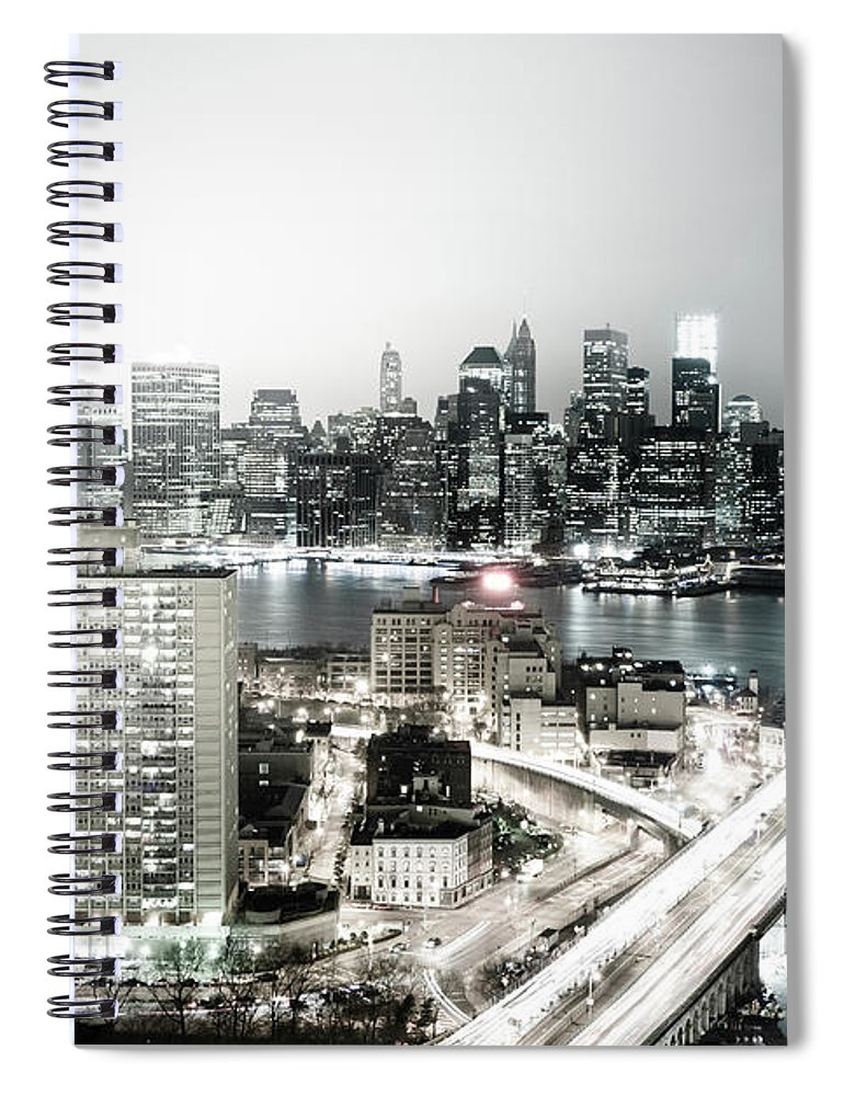 Lower Manhattan Spiral Notebook featuring the photograph New York City Skyline At Night by Mundusimages
