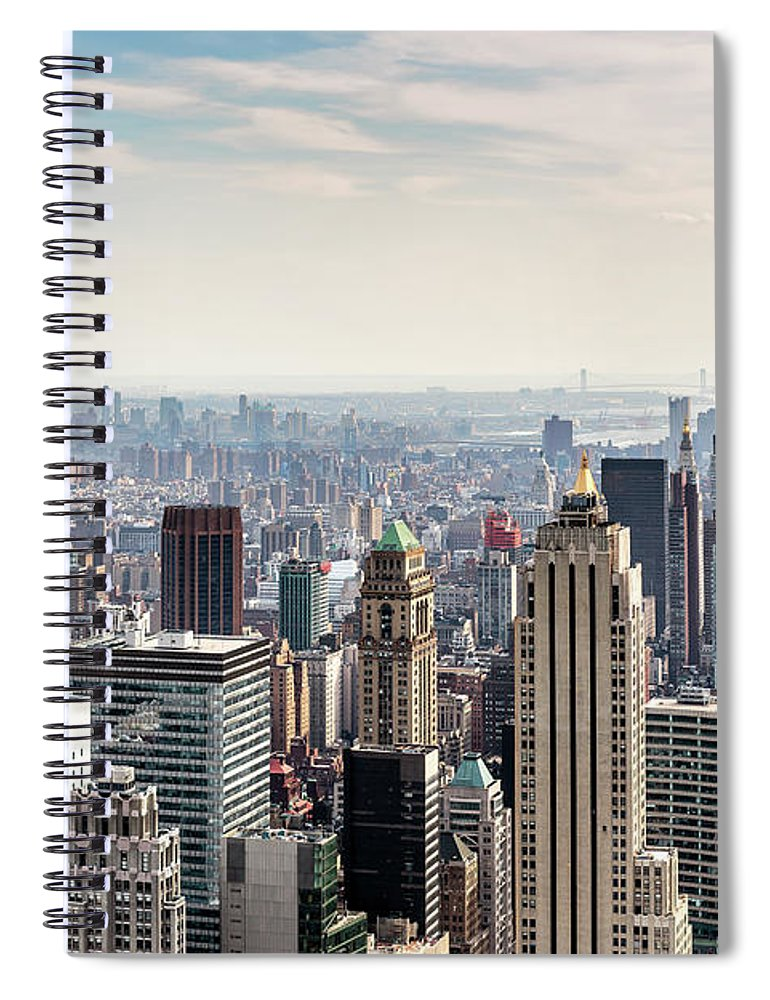 Scenics Spiral Notebook featuring the photograph New York City Skyline by Denise Panyik-dale