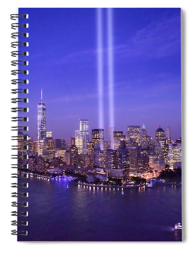 New York City Skyline Night Spiral Notebook Featuring The Photograph New  York City Tribute In Lights