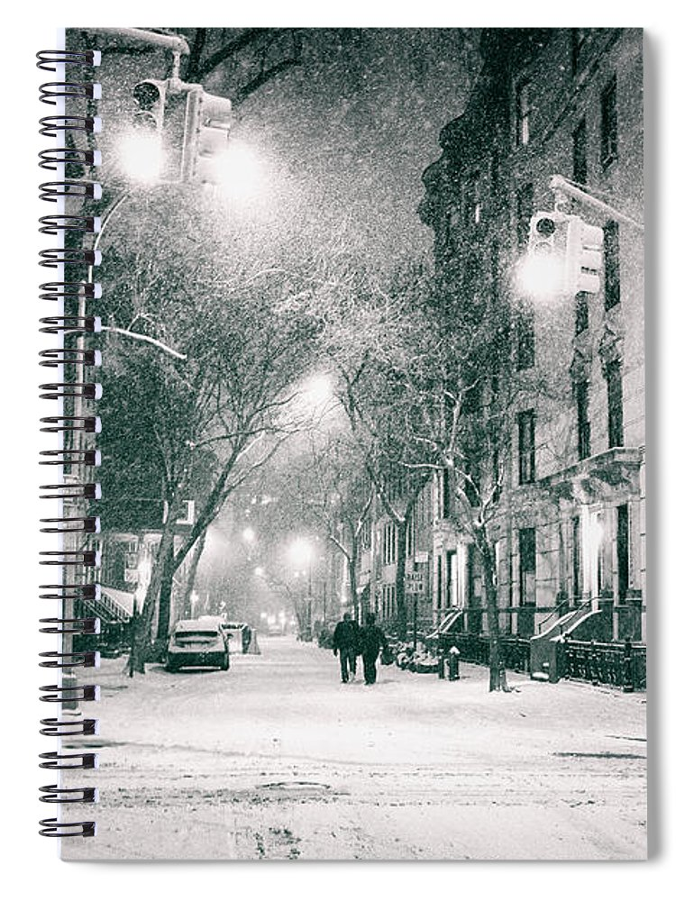 Nyc Spiral Notebook featuring the photograph New York City - Winter Night In The West Village by Vivienne Gucwa