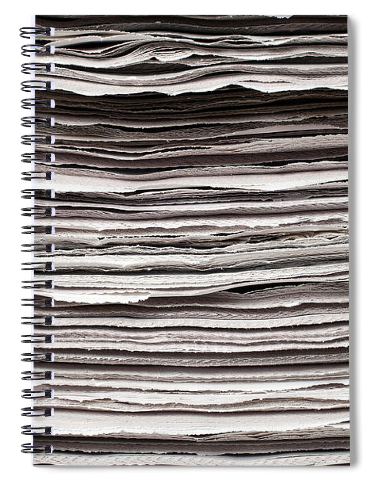 Information Medium Spiral Notebook featuring the photograph Newspaper Background by Fotosipsak