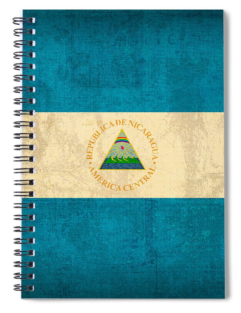 Nicaragua Spiral Notebook featuring the mixed media Nicaragua Flag Vintage Distressed Finish by Design Turnpike