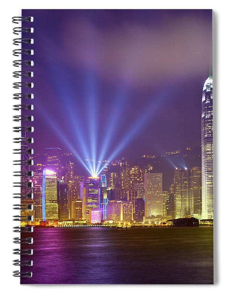 Chinese Culture Spiral Notebook featuring the photograph Night Cityscape Of Hongkong by Ithinksky