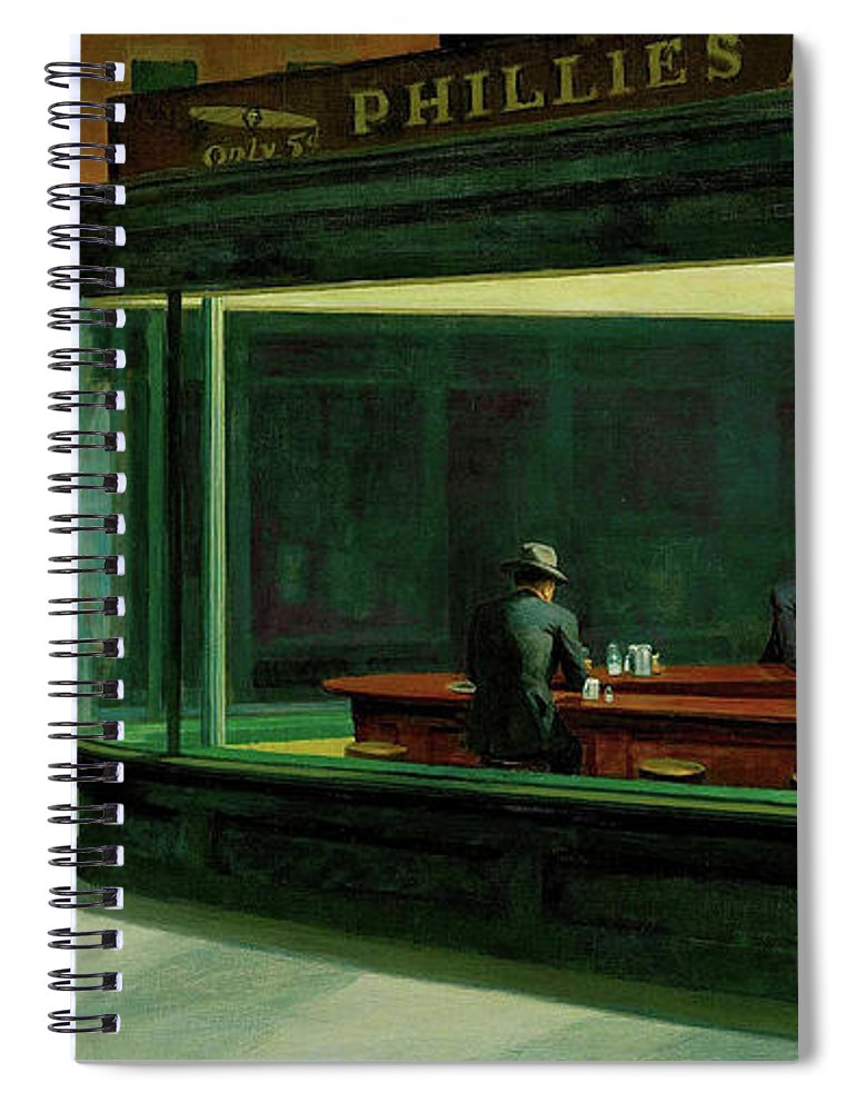 Spiral Notebook featuring the Nighthawks by Edward Hopper