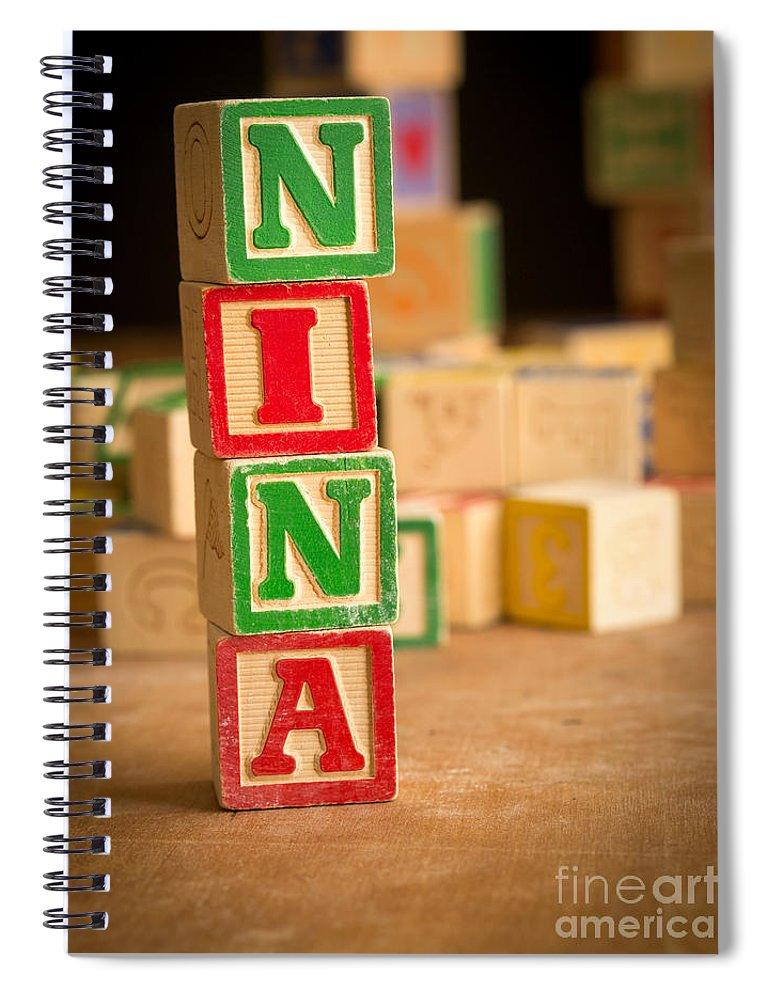 Abcs Spiral Notebook featuring the photograph Nina - Alphabet Blocks by Edward Fielding